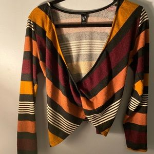 Stripped Front Wrap Crop Sweater 💓